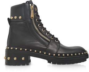 Balmain Army Black Leather Combat Boots w/Golden Rivets