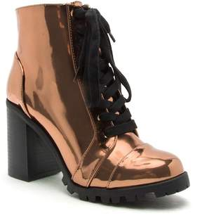 Qupid Sorrento Metallic Lace-Up Booties