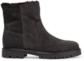 Vince Frances Shearling-lined Suede Ankle Boots - Charcoal