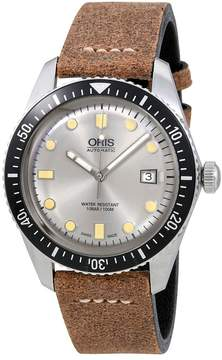 Oris Divers Sixty-Five Silver Dial Automatic Men's Brown Leather Watch