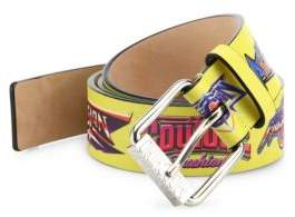 Moschino Printed Logo Be Fantasy Leather Belt