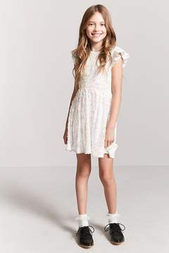 Forever 21 Girls Sheer Mesh Ruffle-Sleeve Sequin Dress (Kids)