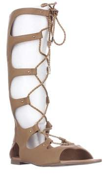 Bar III B35 Rayanne Mid Calf Gladiator Sandals, Tan.