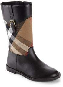 Burberry Kid's Leather & House Check Boots