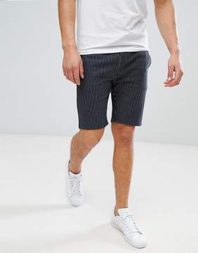 Asos Skinny Shorts With Pinstripe In Navy