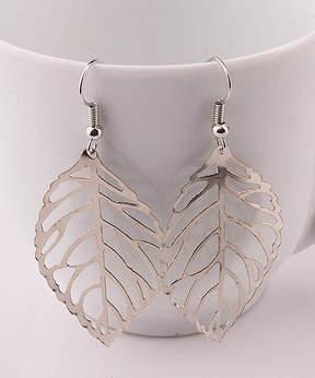 Azalea Silvertone Leaf Drop Earrings