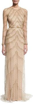 Jenny Packham Beaded Illusion Long-Sleeve Gown, White/Gold