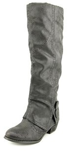 Not Rated Bailey Women Round Toe Synthetic Black Mid Calf Boot.