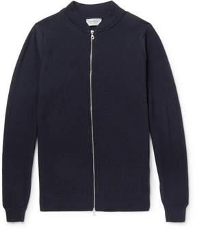 John Smedley Singular Waffle-Knit Merino Wool Bomber Jacket