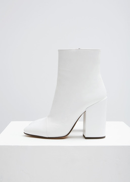 Dries Van Noten White Patent Ankle Boot
