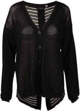 Dex Button Front Cardigan In Solid Black/stripe.