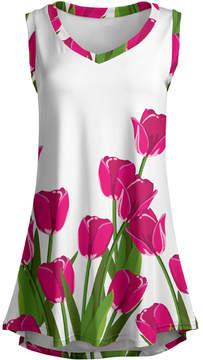 Lily Green & Pink Tulip Sleeveless Tunic - Women & Plus