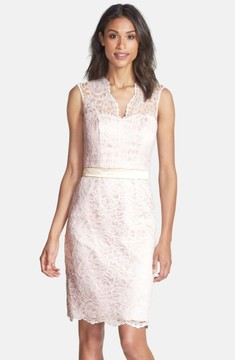 Dessy Collection Women's Lace Overlay Matte Satin Dress