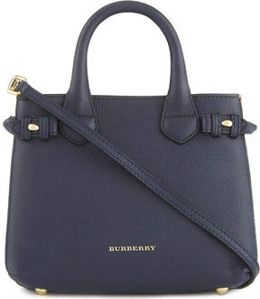 Burberry Banner check trim baby leather tote - INK BLUE - STYLE