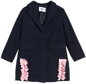 MSGM Wool Felt Coat W/ Ruffle Details