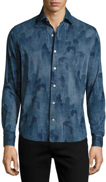 Neiman Marcus Culturata Voltri Printed Cotton Sport Shirt, Blue