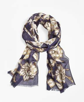 Brooks Brothers Metallic Floral-Print Scarf