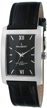 Peugeot Mens Black Dial Black Leather Strap Watch