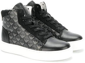 Armani Junior logos print hi-tops