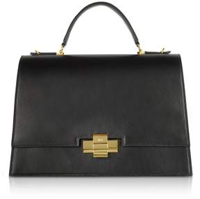 N°21 N.21 N21 Black Leather Alice Top Handle Satchel Bag