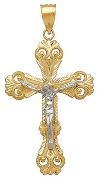 Lord & Taylor 14K Yellow and White Gold Crucifix Pendant