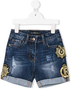 John Richmond Kids logo patch denim shorts