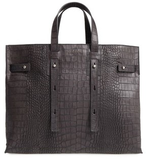 Orciani Petra Croc-Embossed Calfskin Leather Tote - Grey
