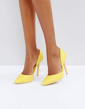 Glamorous D'Orsay Yellow Cut Out Pumps