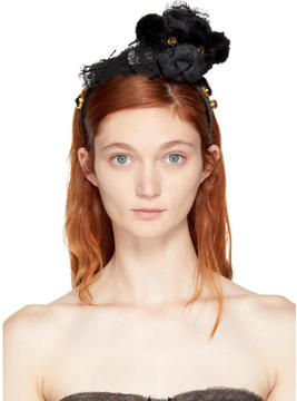 Dolce & Gabbana Black Lace Bear Pom Pom Headband