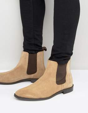 Asos Chelsea Boots in Stone Suede With Back Pull - Wide Fit Available