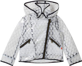 Ikks White Star Print Transparent Hooded Raincoat