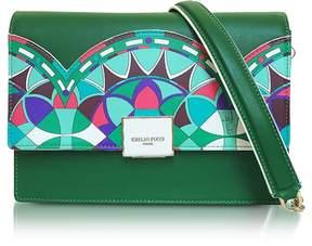 Emilio Pucci Emerald Green Optical Printed Leather Shoulder Bag