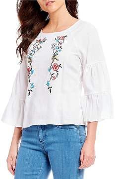 Chelsea & Theodore Floral Embroidered Tiered Ruffle Bell Sleeve Top