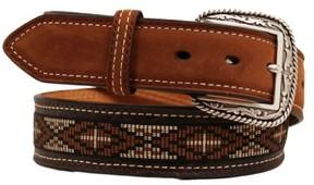 Ariat Western Belt Mens Leather Aztec Cross 36 Brown A1016402