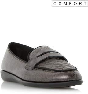 Dune London GAZEL - PEWTER Comfort Quilted Penny Loafer Shoe