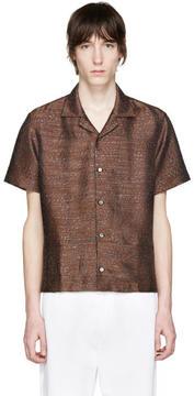 Cmmn Swdn Brown Leopard Jacquard Mervyn Shirt