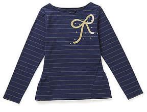 Nautica Little Girls' Metallic Stripe Bow Top (4-7)