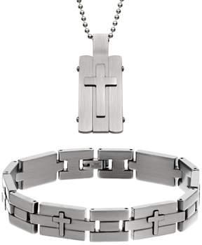 DAY Birger et Mikkelsen Kohl's Two Tone Stainless Steel Cross Dog Tag & Bracelet Set - Men