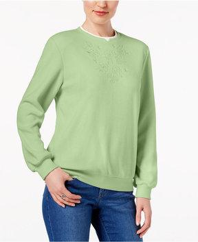Alfred Dunner Embroidered Fleece Sweatshirt