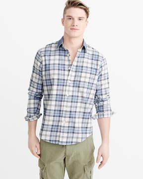 Abercrombie & Fitch Denim Collar Plaid Shirt