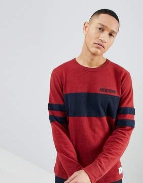Abercrombie & Fitch Varsity Chest Stripe Lightweight Sweatshirt in Red