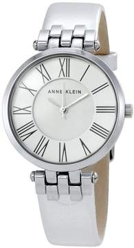 Anne Klein Silver Dial Silver Leather Ladies Watch