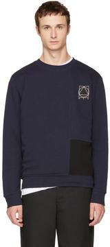 McQ Indigo and Black Colorblock Glyph Logo Sweatshirt