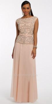 Camille La Vie Beaded Peplum Mesh Evening Dress