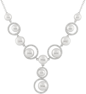 Bella Pearl Y-Shaped Sterling Silver Circles Necklace