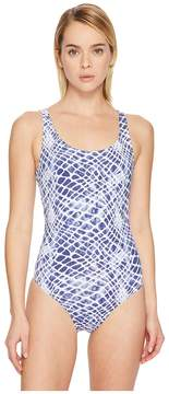 Letarte Printed Lattice Back One-Piece Women's Swimsuits One Piece