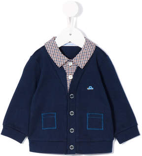 Familiar checked layer buttoned cardigan