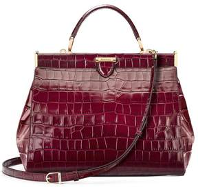 Aspinal of London Large Florence Frame Bag In Deep Shine Bordeaux Croc