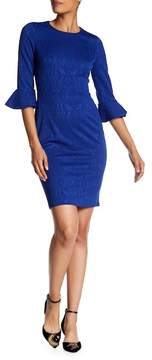 Donna Morgan Bell Sleeve Jacquard Sheath Dress