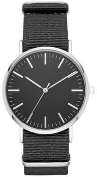 Merona Men's Nylon Field Strap Watch Silver/Black